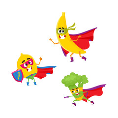 vector flat cartoon funny fruit, vegetable character in masks set. Lemon holds shield , broccoli ready to fight, banana standing in cape. Isolated illustration on a white background.