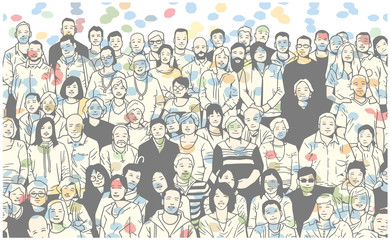 Illustration of group of people smiling and posing for a photograph in colorful festive atmosphere