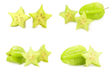 Collection of carambola isolated on a white cutout