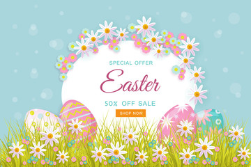 vector easter holiday poster, banner background template with spring festive elements - decorated eggs at green grass meadow, daisy flowers for your design. Illustration on green background.