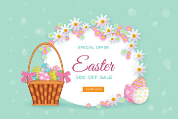 vector easter holiday poster, banner background template with spring festive elements - decorated eggs in wicker basket, daisy flowers with leaves for your design. Illustration on green background.