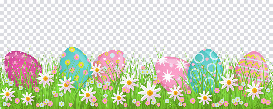 Painted egg lying in spring grass and flowers, Easter decoration border, flat vector illustration isolated on transparent background. Easter decoration element with painted eggs and spring flowers