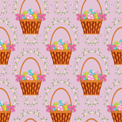 vector easter holiday seamless pattern with spring festive elements - wicker basket with flowers, decorated eggs and daisy flowers with leaves. Flat style illustration on pink background