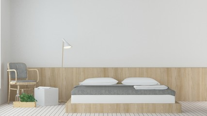 The interior hotel bedroom space 3d rendering and white background