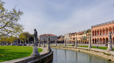 City Square and park with canal in Padua, Italy April