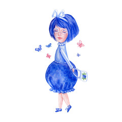 Watercolor cute berry girl in blue dress with butterfly, hand drawn blueberry illustration isolated on white background, character design for cosmetic, greeting card, fashion mascot, children invite