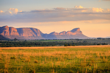 Sunrise over the waterberg mountains, South Africa