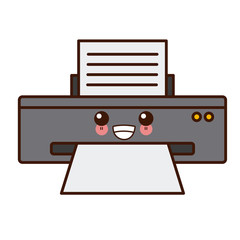 Computer printer device cute kawaii cartoon vector illustration design