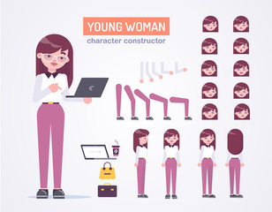 Office young womanl character with various views, face emotions, poses, with glasses, laptop and bag .Front, side, back view animated character. Vector clip art