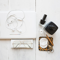 Laptop and skincare supplies