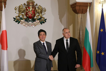 Japan's Prime Minister Abe and Bulgaria's Prime Minister Borissov pose for a picture before their meeting in Sofia