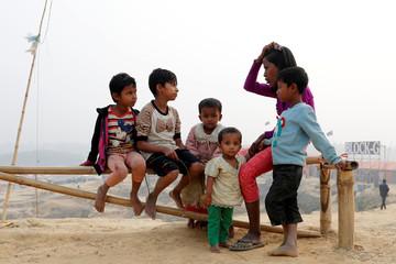Rohingya refugee children talk to each other in Palong Khali camp, near Cox's Bazar