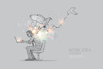 The particles, geometric art, line and dot of working hard