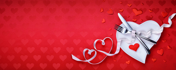 Red Table Setting Cutlery With Heart Decoration For Dinner Valentines Day
