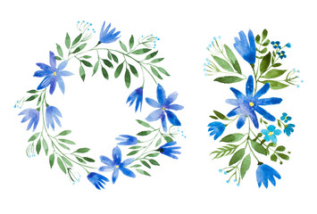 Romantic cornflower garland hand-drawn with watercolor technique. Hand-drawn rustic floral wreath