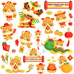 Cute Dog Chinese New Year Illustration