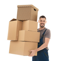 Man with moving boxes on white background