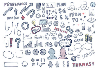 Hand drawn business elements set