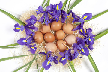 Holiday greeting card for Valentine's Day, Woman's Day, Mother's Day, Easter! Wild, purple irises and a basket with easter eggs on wooden table in the outdoors close-up.
