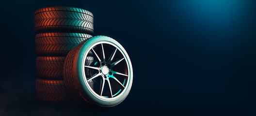 Tires 5 lines on a black background. 3d render and illustration. Wall mural