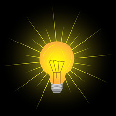 abstract vector flat design lightbulb with sparkle on black backround lamp