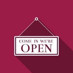 Hanging sign with text Come in we're open icon isolated with long shadow. Business theme for cafe or restaurant. Flat design. Vector Illustration