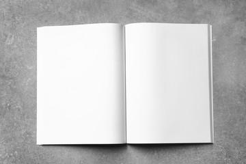 Mock up of booklet on grey background