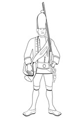 Grenadier, vector coloring drawing. Soldier dressed in military old uniform with a gun on his shoulder, sketch, painted outline portrait, black and white illustration. Isolated on white background