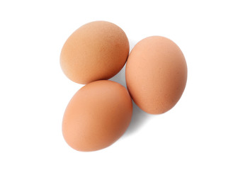 Chicken eggs on white background