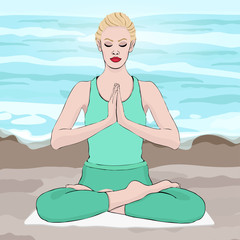 Yoga pose, woman meditating in a lotus pose, vector drawing portrait. Meditation relaxation cartoon girl sitting cross-legged against the background of the beach and sea