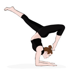 Yoga pose, woman handstand, vector multicolored drawing portrait. Meditation, is engaged in gymnastics cartoon girl makes a stand on the hands. Isolated on white background