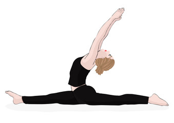 Yoga pose, woman to do the splits, vector multicolored drawing portrait. Cartoon girl is engaged in gymnastics. Isolated on white background