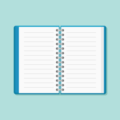 Open notebook isolated on background. Flat style icon. Vector illustration.