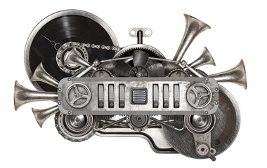 Steampunk old metal collage of vinyl record turntable