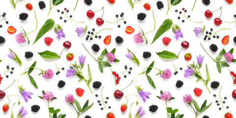 Fototapete - Seamless pattern from plants, wild flowers and  berries, isolated on white background, flat lay, top view. The concept of summer, spring, Mother's Day, March 8.