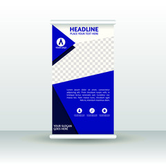 Red roll up banner design brochure flyer vertical template, vector x-banner and street business flag-banner, cover presentation abstract geometric background vertical layout.