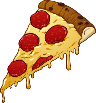 Slice of pepperoni pizza. Vector clip art illustration with simple gradients. All in a single layer.