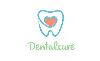 Creative Dental Teeth Heart Metaphor Logo Design Symbol Illustration