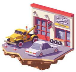 Vector low poly automobile repair shop