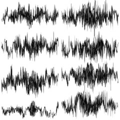 Set of abstract monochrome sound waves. EPS 10 vector
