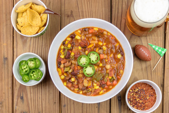 Overhead view of chili for Super Bowl Sunday