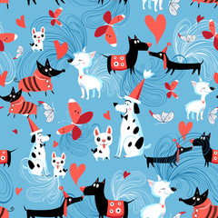 Seamless bright pattern of enamored dogs