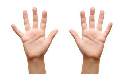 The children show open hands
