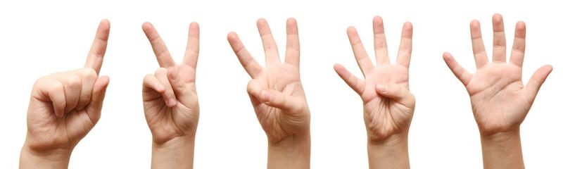 Kids hands show fingers.