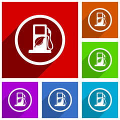 Biofuel vector icons. Flat design colorful illustrations for web designers and mobile applications in eps 10