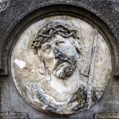 Face of Jesus Christ on a tomb