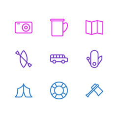 Vector illustration of 9 camping icons line style. Editable set of guidance, photo apparatus, cup and other elements.