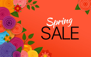 Spring sale Vector banner. Abstract flowers on red background