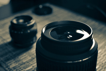 Lenses. A set of photographers. Protective glass