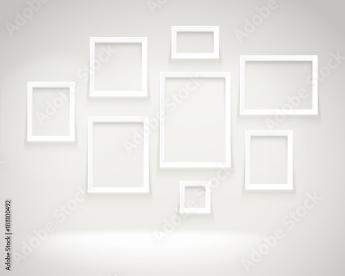 Photoreal Bright Gallery With Picture Frames Presentation Vector
